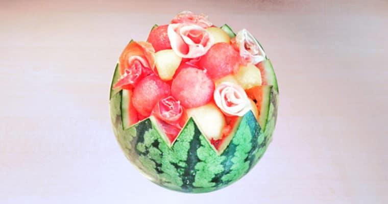 Salade de pastèque – melon – jambon cru
