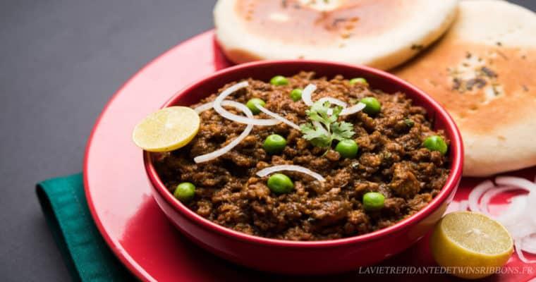 keema matar – curry d'agneau haché