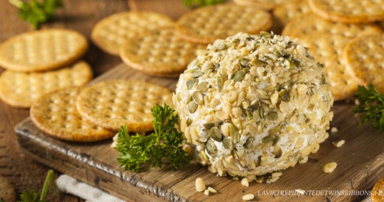 cheeseball – boule de fromage à tartiner graine de courge et pignon de pin